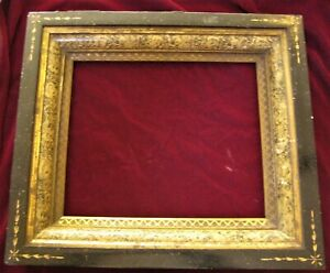 Aesthetic Movement Antique Picture Frame Ebonized Faux Finishes Spoon Carved
