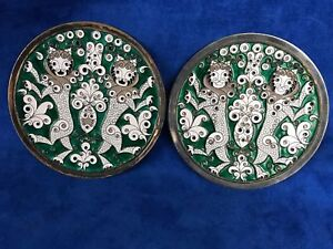 Vintage Pair Of Russian Marked 916 Silver Enameled Plates Dancing Lions