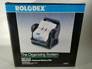 Rolodex 500 Card Diplomat Covered Black Rotary File Drf 35c New In Box 1990