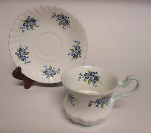 Vintage Teacup Saucer Rosina Bone China England 5395 White Blue Floral