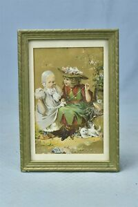 Antique Framed Print Victorian Girl Repairing Toddlers Gown Cats Nearby 06540