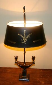Antique Vintage Black Gold Tole Bouillotte Toleware Chinoiserie Lamp 25 H