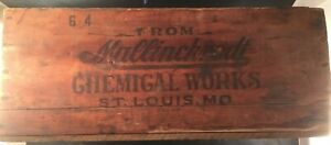 Rare Antique Mallinckrodt Chemical Works Wooden Crate St Louis Mo