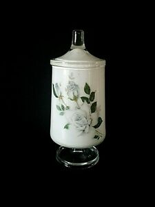 Beautiful Vintage Floral Footed Apothecary Jar With Lid Frosted