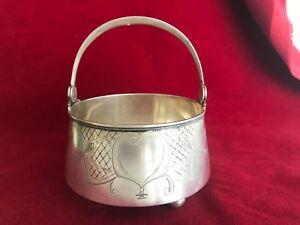 Antique Russian Sugar Bowl Basket Silver Marked 84b Gorgeous Heart Design Birds