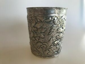 Early 19th Century Family Cup Beaker Silver Germany Repousse Hammered Floral