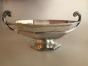 Antique Sterling Silver William Hutton Sons 1925 Footed Handle Octagonal Bowl