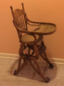 Antique Oak Child Wicker Seat High Chair Converts To Rocker Stroller Ca1900