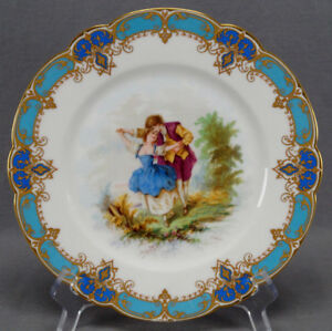 19th Century Sevres Style Courting Couple Celeste Blue Gold Cabinet Plate
