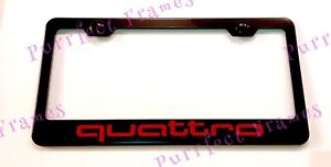Quattro Audi S Line Red Black Stainless Steel License Plate Frame W Bolt Caps