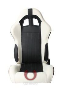 Cipher Auto Racing Seats black White Leatherette Pair