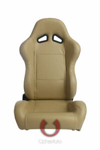 Cipher Auto Racing Seats Beige Leatherette Pair