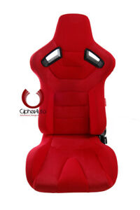 Cipher Auto Ar 9 Revo Racing Seats red Suede Fabric W Carbon Fiber Pair