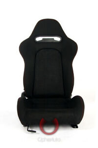 Cipher Auto Racing Seats black Cloth W Suede Insert Red Stitching Pair