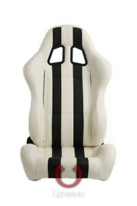 Cipher Auto Racing Seats white Leatherette W Black Stripes Pair