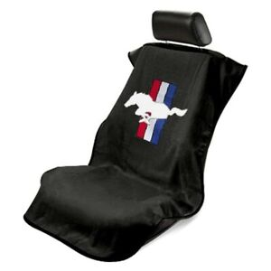 Seat Armour Front Car Seat Cover For Mustang Pony Black Terry Cloth