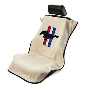 Seat Armour Front Car Seat Cover For Mustang Pony Tan Terry Cloth