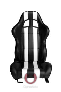 Cipher Auto Racing Seats black Leatherette W White Stripes Pair
