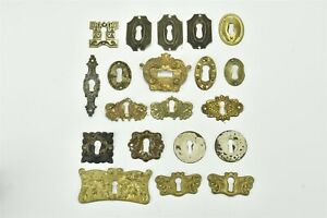 Antique Mixed Lot 20 Brass Escutcheons Key Hole Covers Oval Square Round 06874