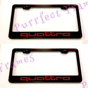 2x Quattro Audi Red Style Stainless Steel License Plate Frame Rust Free W Cap