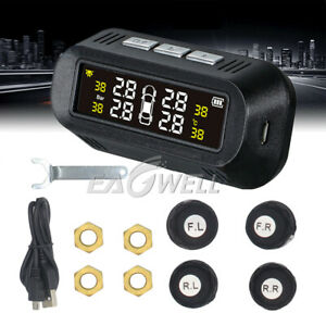 Wireless 4 Sensors Solar Power Car Auto Tpms Tire Pressure Lcd Monitor System