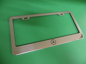1pc Mercedes Benz Logo Stainless Steel License Plate Frame