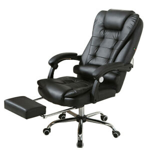 Home Office Computer Chair Adjustable Leather Seat Swivel Recliner Footrest Task
