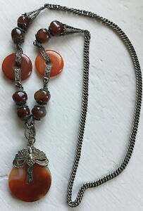 Vintage China Chinese Qing Dynasty Silver Carnelian Necklace