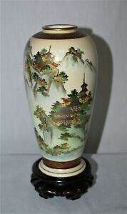 Vintage Antique Japanese Vase Painted Porcelain With Wood Stand Gold Trim