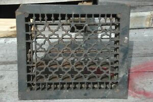 Antique 12x14 Floor Register Or Heat Vent Cast Iron Grate Louvers Nice