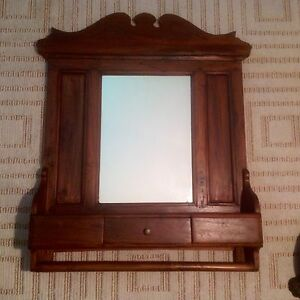 Antique Vintage Shaving Vanity With Mirror Drawer