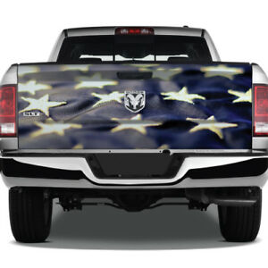 American Flag Fabric Stars Graphic Rear Tailgate Vinyl Decal Truck Pickup Wrap