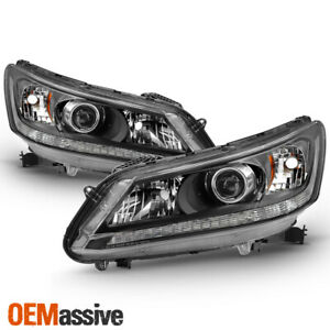 Fits 2013 2014 2015 Honda Accord 4 Door Sedan Halogen Models Headlights Black