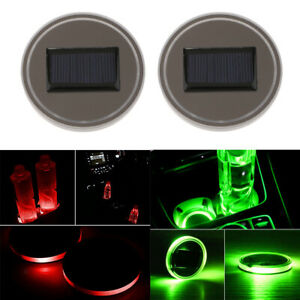 Magideal Universal 2 Solar Cup Holder Bottom Pad Mat Green red Led Trim