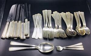 Cartier Antique Sterling Silver Embassy Scroll 67 Piece Service 8 Flatware Set