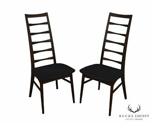 Danish Modern Mid Century Pair Ladder Back Side Dining Chairs