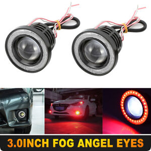 2 X 3 0 W Cob Led Fog Light Projector Car Angel Eyes Halo Ring Drl Lamps Red