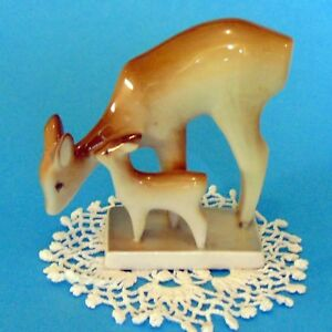 Vintage Hungarian Zsolnay Porcelain Antique Deer Pair Handpainted Marked