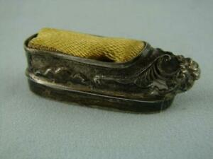 Antique Miniature Solid Silver Chinese Shoe Slipper Pin Cushion By Wang Hing