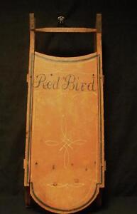 Antique Painted Child S Sled Red Bird Inscribed On Bottom Spring Mills Nj