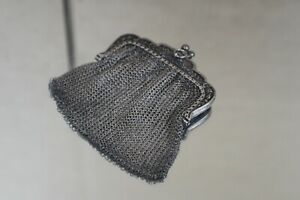 Antique 2 Compartment Sterling Silver Mesh Chain Mail Floral Coin Purse