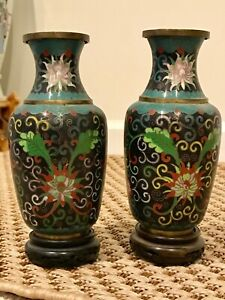 Pair Of Antique Chinese Cloisonne Floral Vases With Stands