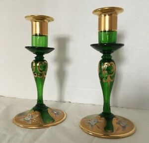 Vintage Venetian Murano Glass Candlesticks Tre Fuochi 7 2 Pc Set Mint