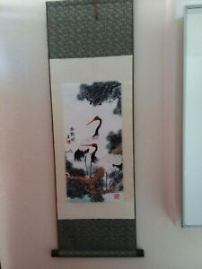Japanese Hanging Scroll Art Painting Cranes Asian Antique