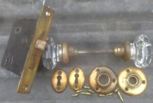 Antique Vintage 1 Set Clear Glass Door Knob Handles Spindle Lock Set Penn Brand