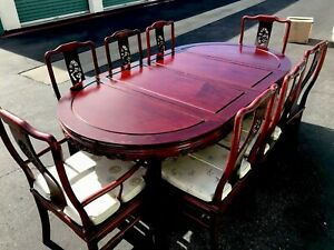 Vintage Chinese Carved Rosewood Dining Table With 8 Chairs Glass Top Full Size