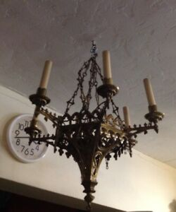 Antique French Victorian Gothic Bronze Brass Chandelier Highly Detailed
