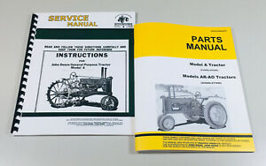 Service Operators Manual Parts Catalog For John Deere A Unstyled Tractor General