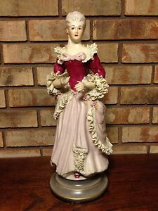 Antique 1800 S Victorian Women Signed Chantilly China 428 17 Porcelain Figurine