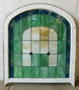 1800 S Leaded Stained Glass Church Window Victorian Style Arch Top Ornate